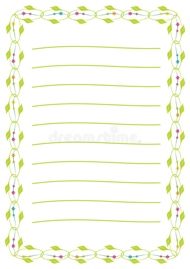 Una página de la libreta con el marco de la hoja y de la flor libre illustration