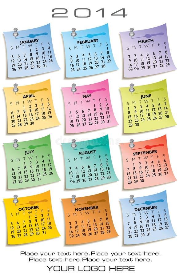 2014 una páginas calendario de 12 meses stock de ilustración
