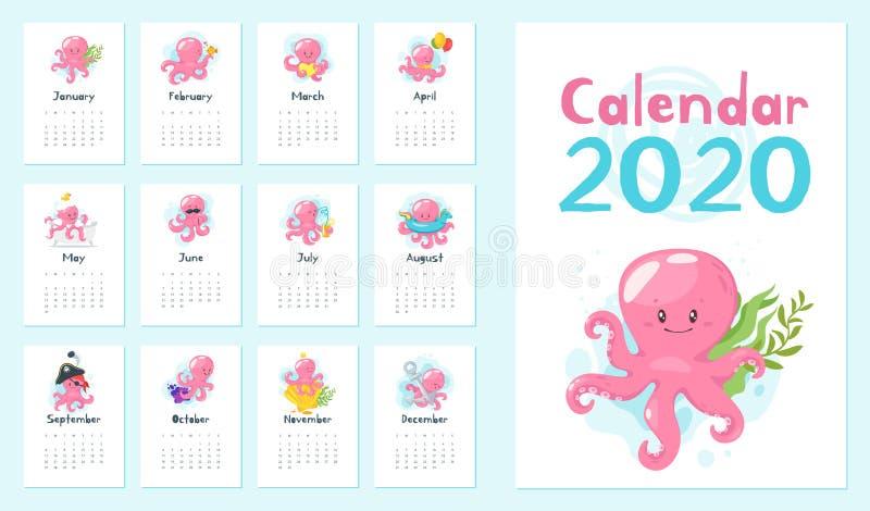 una pagina di 2020 calendari immagini stock libere da diritti