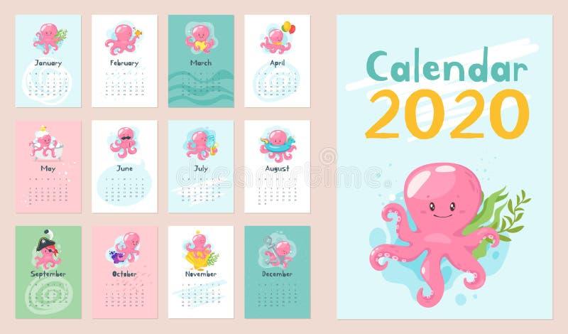 una pagina di 2020 calendari fotografia stock