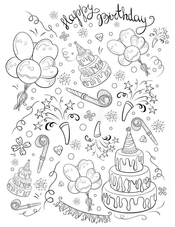 Una pagina di coloritura, prenota un tema di compleanno con l'immagine dell'iscrizione per i bambini Linea Art Style Illustration illustrazione vettoriale