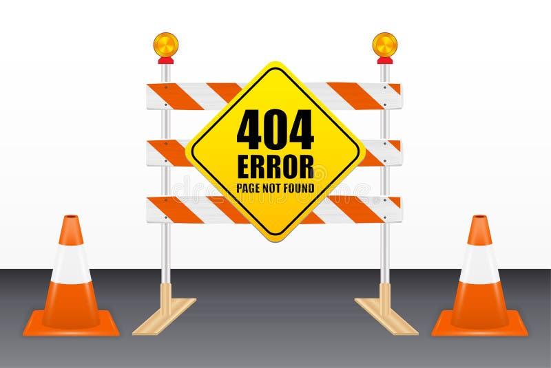 una pagina di 404 errori non trovata sugli strumenti del blocco stradale illustrazione di stock