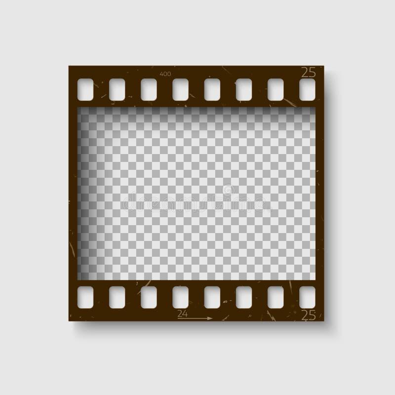 Una pagina di una striscia di pellicola da 35 millimetri Pellicola negativa vuota della foto del blanck Modello del rotolo della  illustrazione di stock