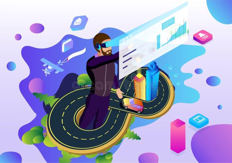 Una pagina virtuale di ilustration di tecnologia di relity dell'uomo illustrazione vettoriale