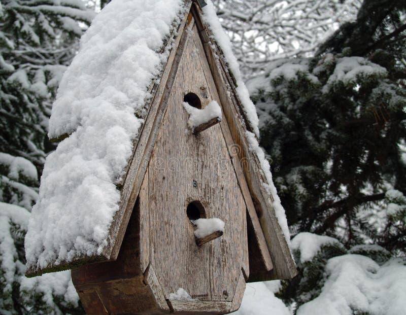 Una pajarera nevada fotos de archivo libres de regalías
