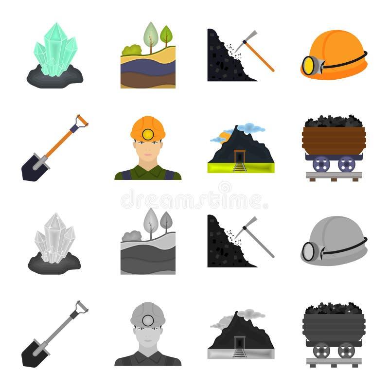 Una pala, un minatore, un'entrata ad una miniera, un carrello con carbone Icone stabilite della raccolta della miniera nel fumett royalty illustrazione gratis