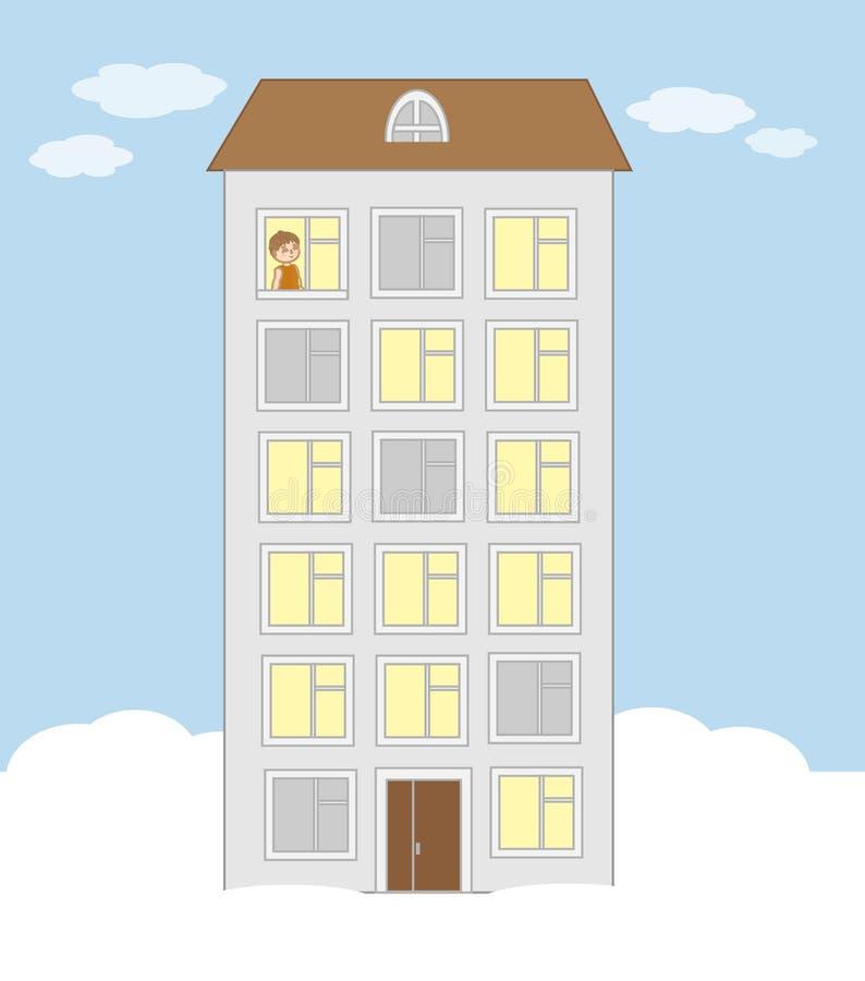 Una palazzina di appartamenti alta e un ragazzino guardano fuori il windo w illustrazione di stock