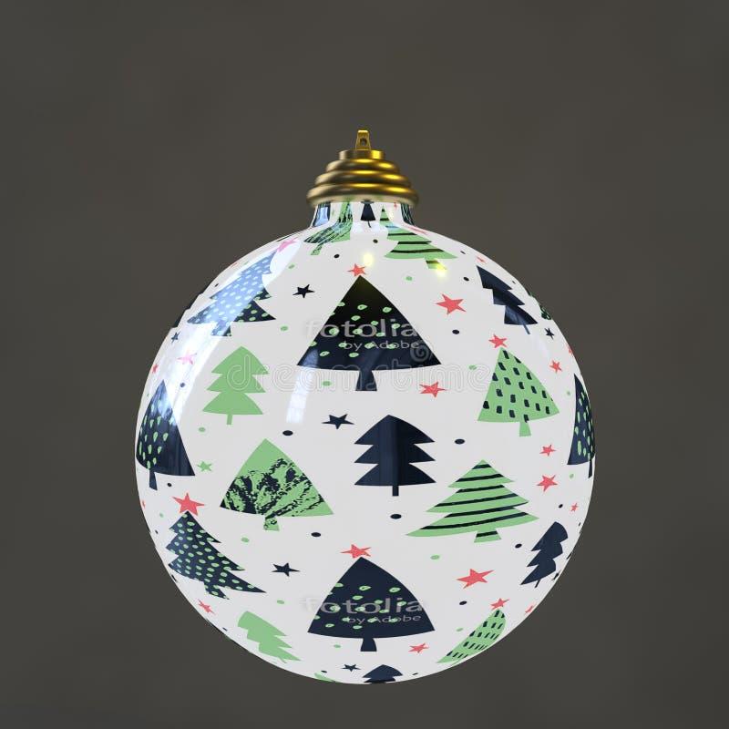 Una palla di natale con gli alberi di cristmas royalty illustrazione gratis
