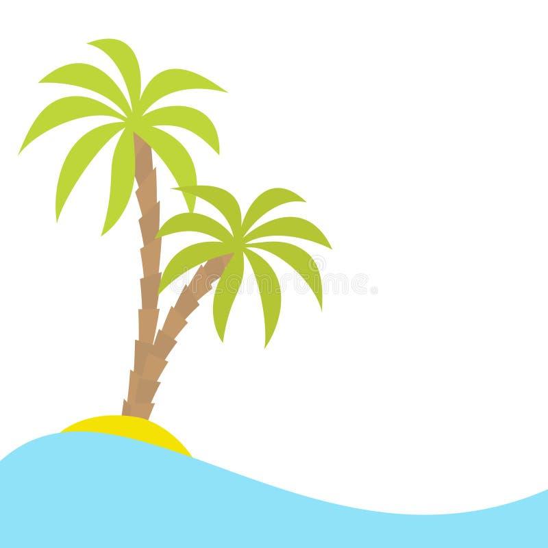 Una palma due sull'isola, oceano, vede l'onda di acqua Paesaggio tropicale esotico Progettazione piana Priorità bassa bianca Isol royalty illustrazione gratis