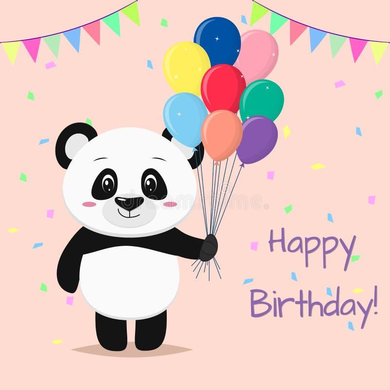 Una panda dulce es permanente y que sostiene muchos diversos globos en sus patas Feliz cumpleaños stock de ilustración