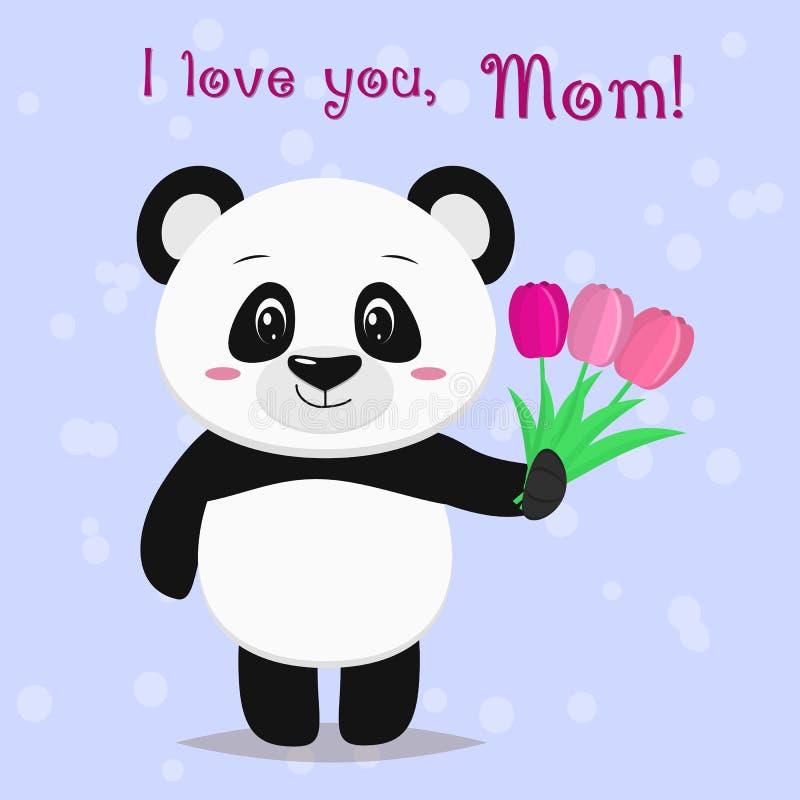 Una panda dulce es permanente y sosteniendo en sus patas tres tulipanes rosados, felicita a madres en el estilo de historietas ilustración del vector