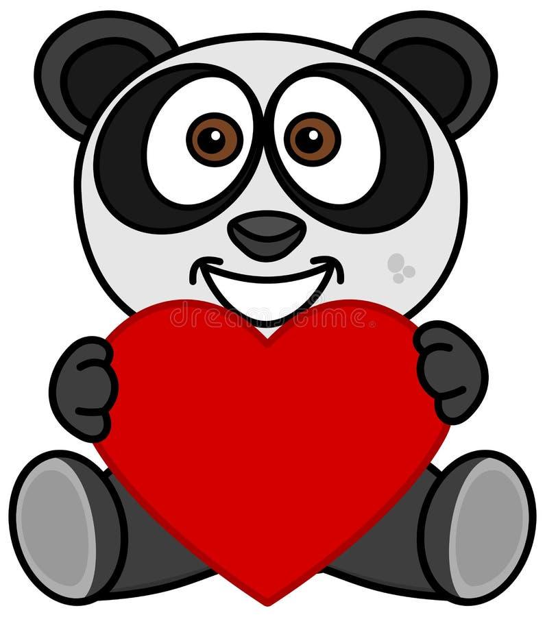 Una panda sonriente feliz de haber recibido un corazón como regalo stock de ilustración