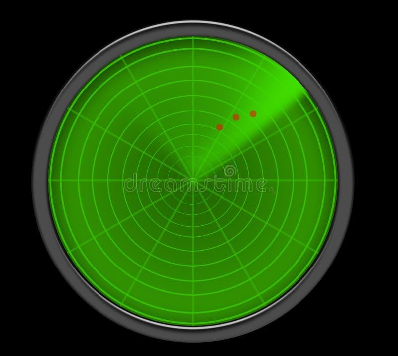 Una pantalla de radar verde que muestra amenazas stock de ilustración