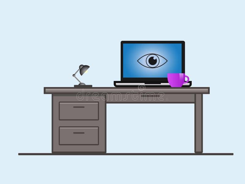 Una pantalla del ordenador portátil con un ojo libre illustration