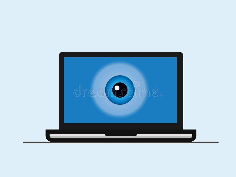 Una pantalla del ordenador portátil con un ojo stock de ilustración