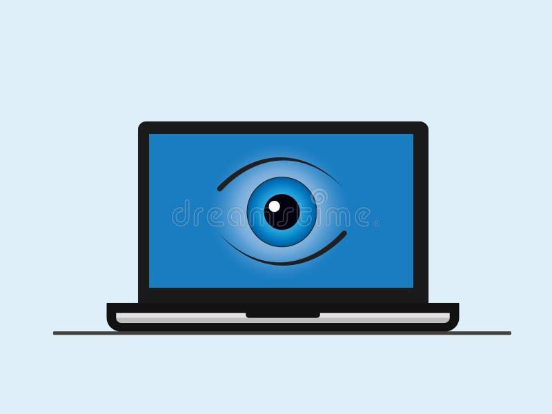 Una pantalla del ordenador portátil con un ojo ilustración del vector