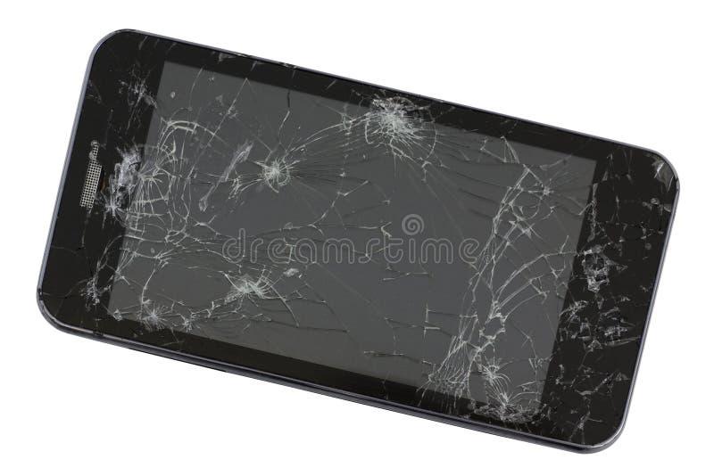 Una pantalla quebrada del teléfono negro estándar de la producción en masa GA fotos de archivo libres de regalías