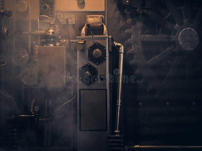 Una pared antigua del vintage con los mecanismos en el estilo del steampunk foto de archivo libre de regalías