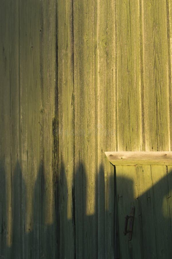 Una pared de madera pintada verde con una pequeña puerta fotografía de archivo