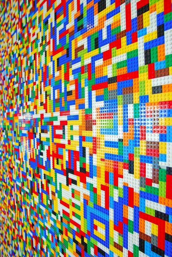 Una pared por completo de Lego Pieces imagen de archivo libre de regalías