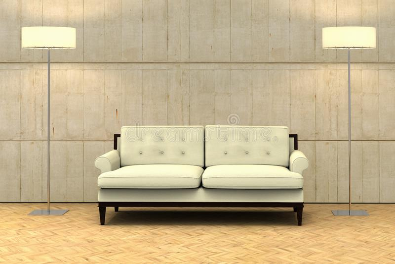 Una pared vacía en un apartamento moderno con un sofá imagen de archivo libre de regalías