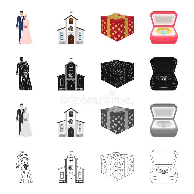 Una pareja casada, una iglesia, un regalo de boda, un anillo de compromiso Casarse iconos determinados de la colección en monocro libre illustration