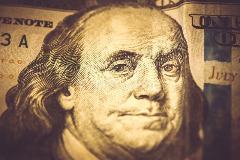 Una parte di 100 dollari, macro colpo, Benjamin Franklin fotografia stock