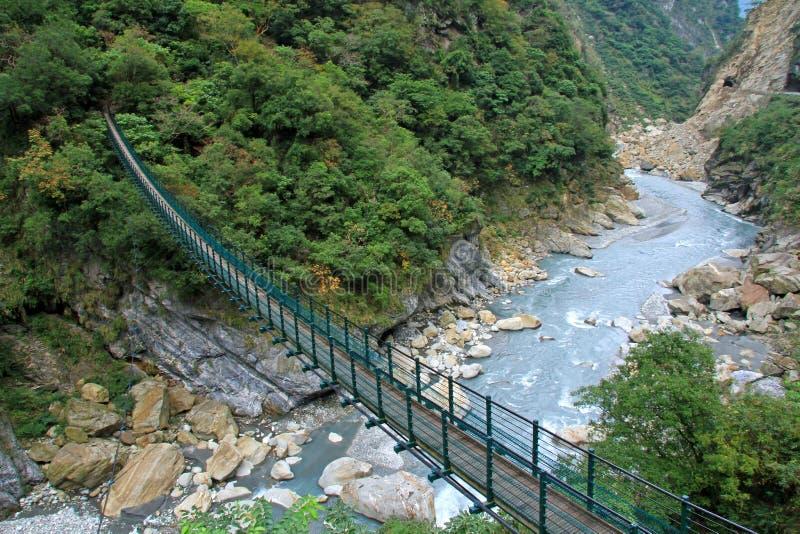 Una passerella della sospensione in Taiwan fotografia stock libera da diritti