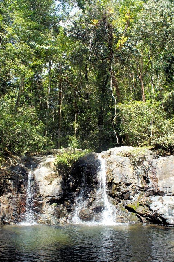 Una pequeña cascada en la selva tropical PALAWAN imagen de archivo