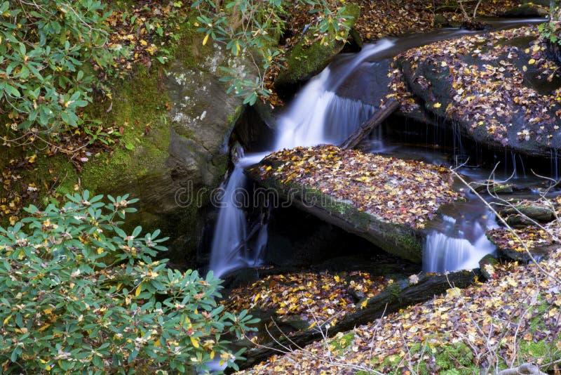 Una pequeña cascada en las montañas ahumadas está viva con color imagen de archivo