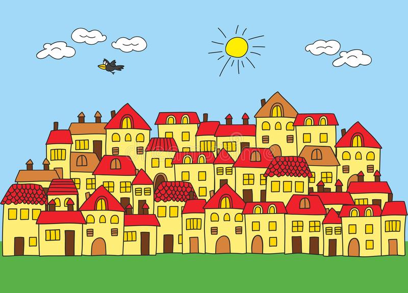 Una pequeña ciudad en un estilo de la historieta Casa con la azotea roja stock de ilustración