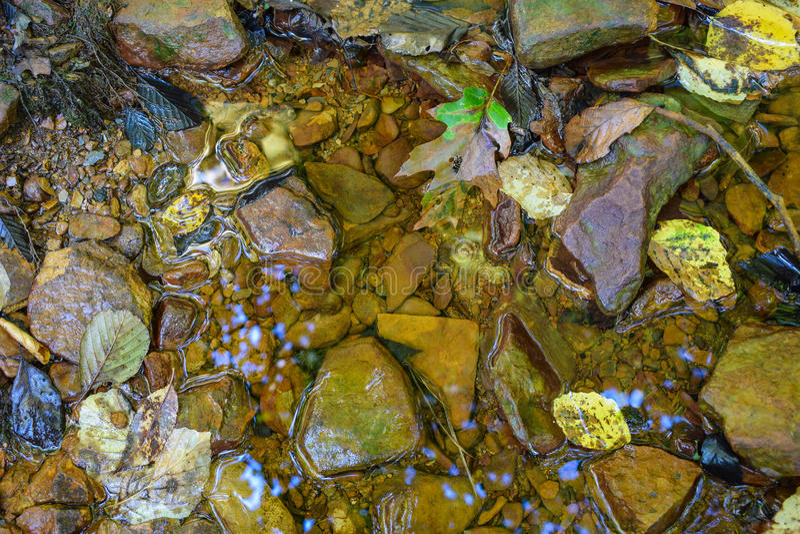 Una pequeña corriente manchó la naranja del drenaje de mina ácido fotografía de archivo