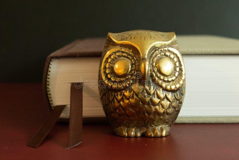 Una pequeña figura de oro del búho delante de un libro imagen de archivo libre de regalías