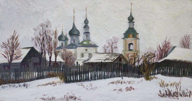 Una pequeña iglesia de la aldea stock de ilustración