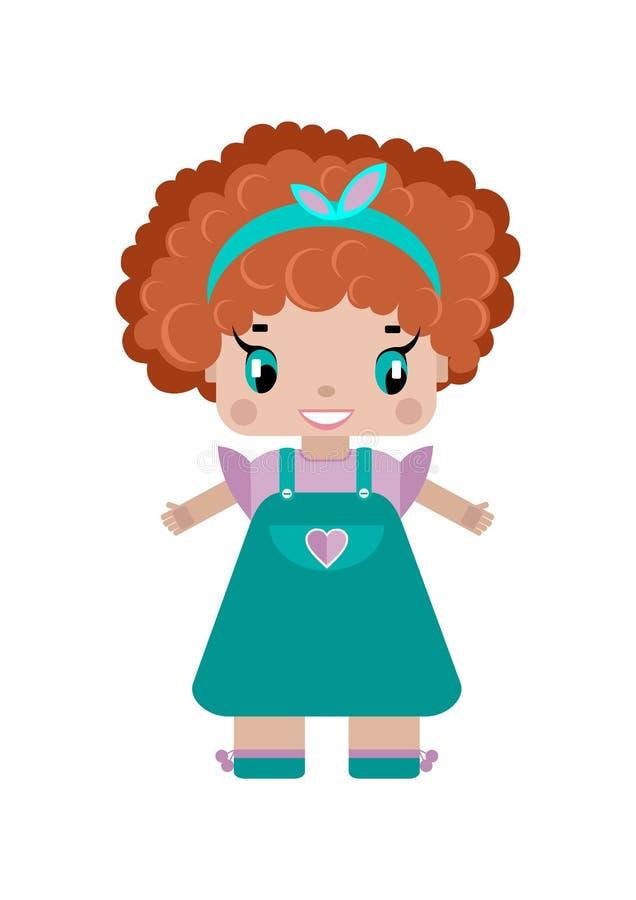 una pequeña muchacha linda con el pelo rizado rojo libre illustration
