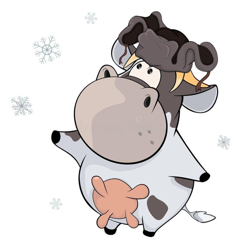 Una pequeña vaca historieta ilustración del vector