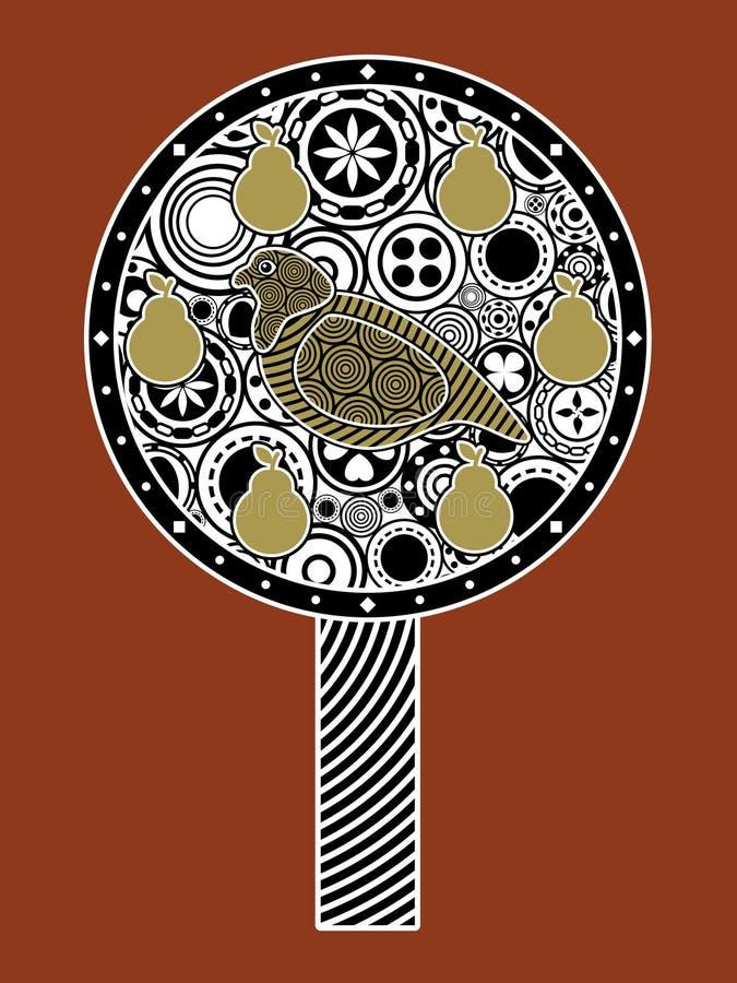 Una pernice in un albero di pera illustrazione vettoriale