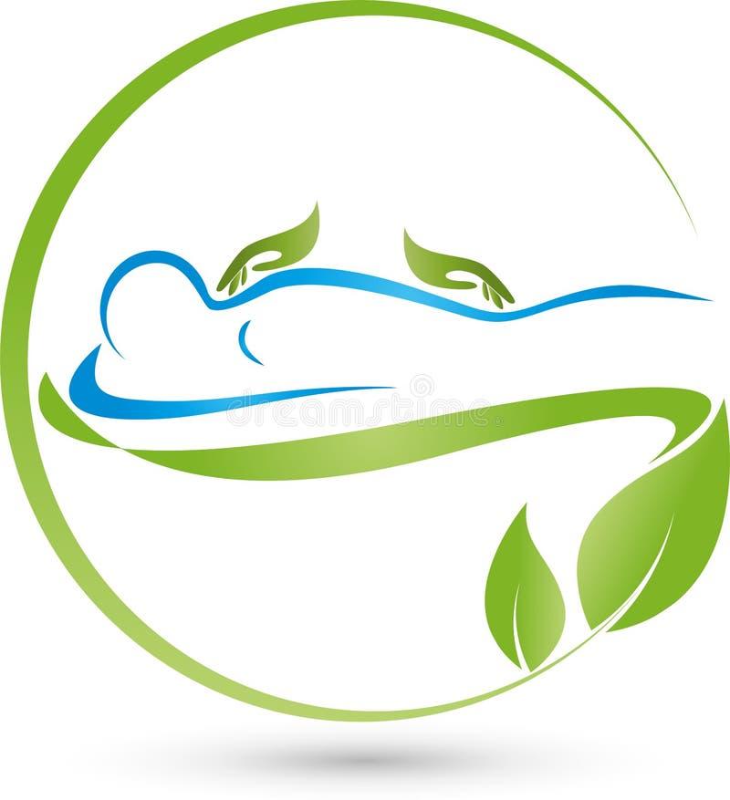 Una persona e un logo ortopedico e di massaggio delle mani, immagini stock