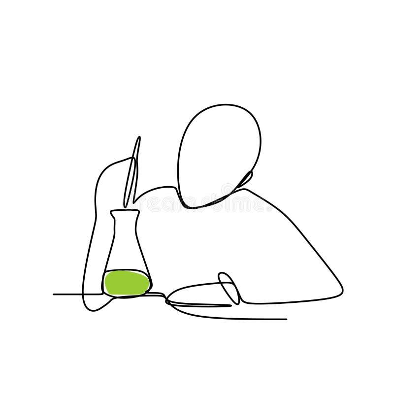 Una persona hace una reacción química con la línea continua ejemplo del vector del dibujo del arte ilustración del vector