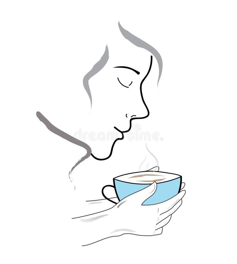 Una persona inhala el aroma del café Ilustración del vector stock de ilustración