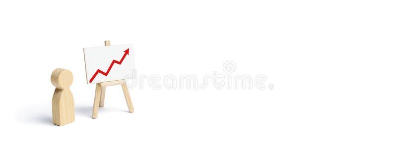 Una persona sta stando vicino ad un grafico con una freccia alta rossa Successo e risultato finanziari Relazione di attività ed i illustrazione di stock