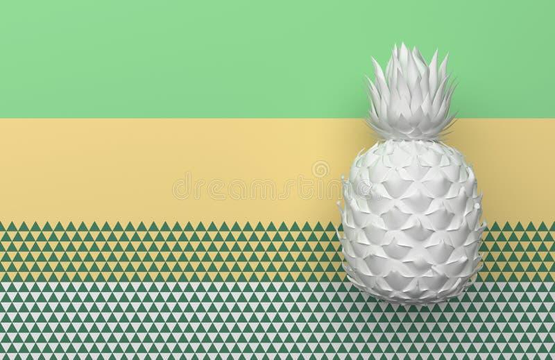 Una piña blanca aislada en un fondo con un pálido - raya y triángulos verdes, amarillos y blancos Fruta exótica tropical con ilustración del vector