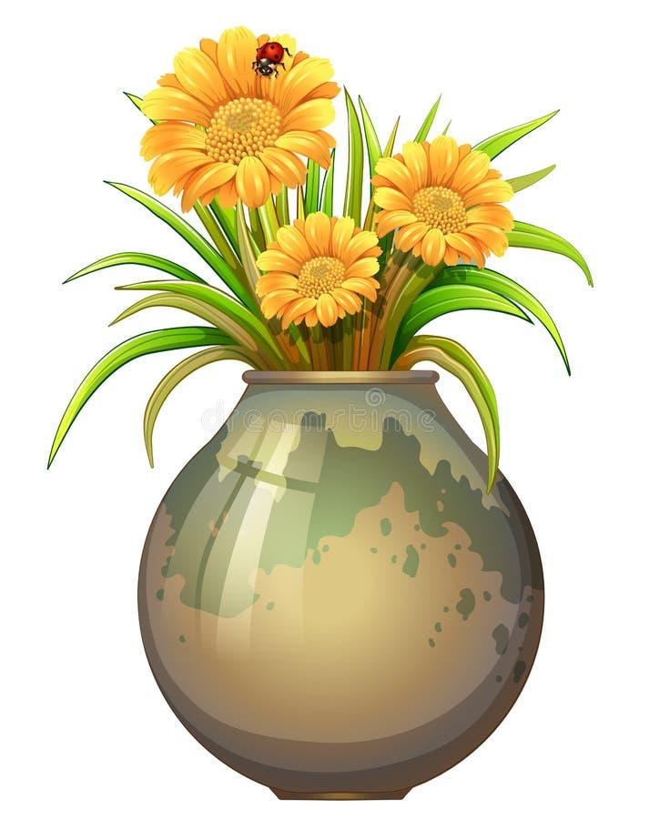 Una pianta in un vaso con la fioritura fiorisce illustrazione vettoriale