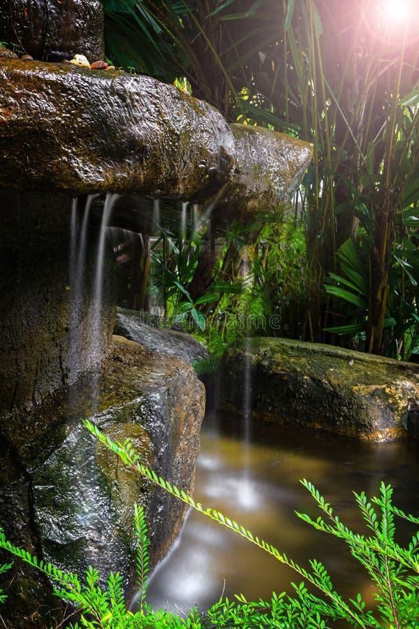 Una piccola cascata nella foresta e nella giungla, nascoste fra le piante, l'oscurità ed il piccolo sole fucilazione con lungo immagini stock