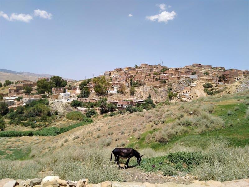 Una piccola città su un pendio di collina ripido fotografia stock libera da diritti