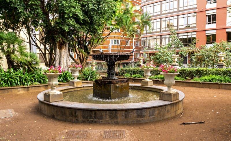 Una piccola fontana con una coppia di piccioni sulla cima posizionata sul Square di principe a Santa Cruz de Tenerife, isole Cana fotografia stock
