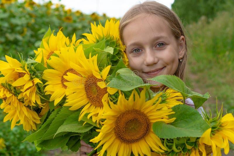 Una piccola ragazza sorridente sveglia nel campo dei girasoli che tengono un mazzo di fiori enorme in un giorno di estate soleggi immagine stock