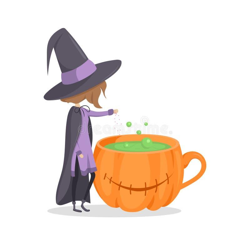 Una piccola strega aggiunge gli ingredienti in pozione illustrazione vettoriale