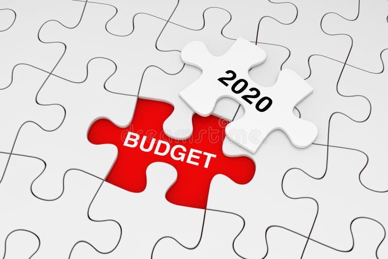 Una pieza del rompecabezas blanco sobre el llano del rompecabezas blanco con palabras del presupuesto 2020 representaci?n 3d ilustración del vector