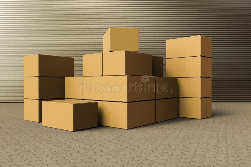 Una pila de cajas de cartón fuera de un almacén imagenes de archivo